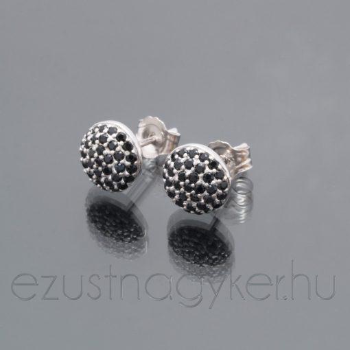 Kicsi félgömb cirkónia köves fülbevaló - fekete ezüst
