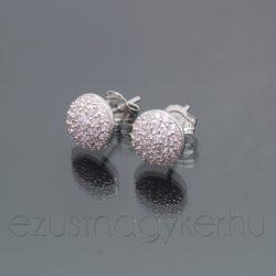 Kicsi félgömb cirkónia köves fülbevaló - világos rózsaszín