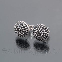Nagy félgömb cirkónia köves fülbevaló - fekete ezüst