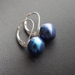 Tenyésztet gyöngy fülbevaló - patentzáras - kék - 9 mm