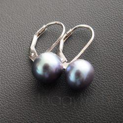 Tenyésztet gyöngy fülbevaló - patentzáras - púder kék - 9 mm