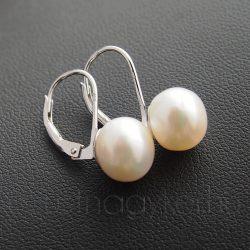 Tenyésztet gyöngy fülbevaló - patentzáras - fehér - 9 mm