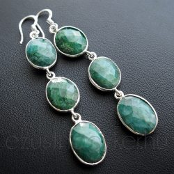 Smaragd három köves fülbevaló