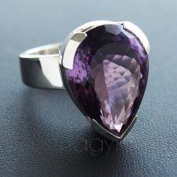 Ametiszt ezüst gyűrű fazettált