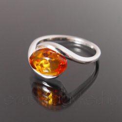 Borostyán ezüst gyűrű ölelés