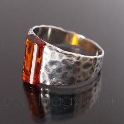 Borostyán ezüst gyűrű széles mintás méz