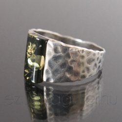 Borostyán ezüst gyűrű széles mintás - zöld
