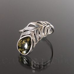 Borostyán ezüst gyűrű toll - zöld