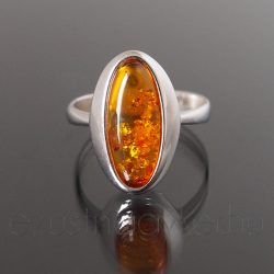 Borostyán ezüst gyűrű övális