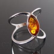 Borostyán ezüst gyűrű ívelt