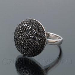Cirkónia köves gyűrű félgömb - fekete