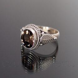 Füstkvarc ezüst gyűrű