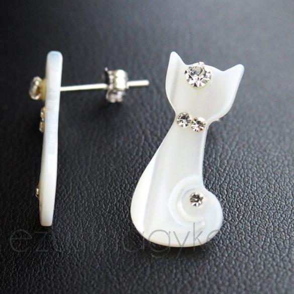 Gyöngyház cica fülbevaló