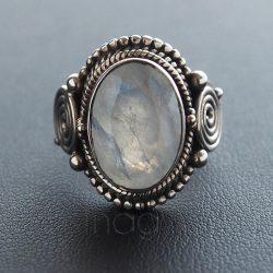Holdkő ezüst gyűrű díszes foglalattal