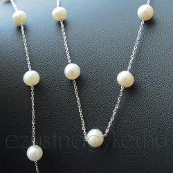 Tenyésztett gyöngy - ezüst lánc, karlánc szett