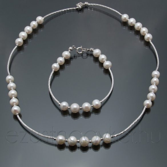 Gyöngy ezüst lánc-karlánc szett - fehér
