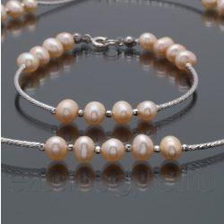 Gyöngy ezüst lánc-karlánc szett - barackvirág