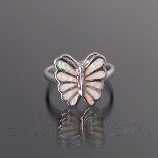 Opál gyűrű pillangó rózsaszín