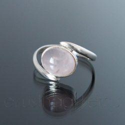 Rózsakvarc ezüst gyűrű kétágú