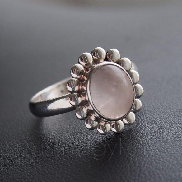 Rózsakvarc  ezüst gyűrű virág