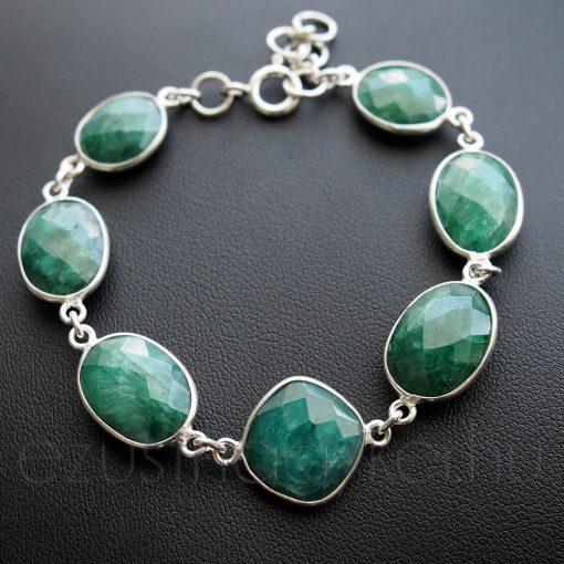 Smaragd köves ezüst karkötő