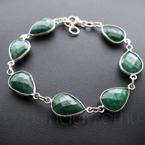 Smaragd köves karkötő - csepp kövekkel
