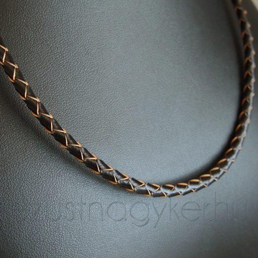 Fonott bőr nyaklánc - 4mm vastag - barna