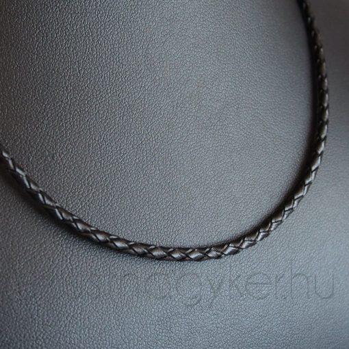 Fonott bőr nyaklánc - 3 mm vastag fekete
