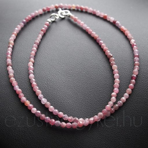 Fűzött rubin nyaklánc - világos árnyalat