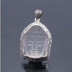 Hegyikristályból faragott Buddha arc medál