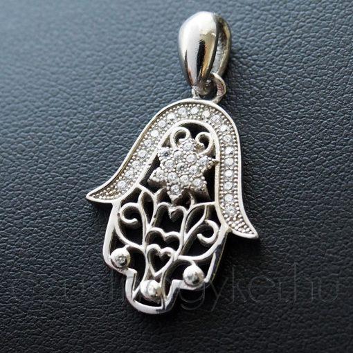 Hamsa keze ezüst medál cirkóni kővel díszitve