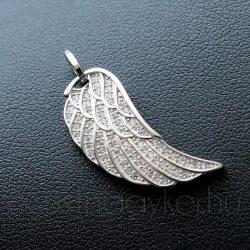 Angyalszárny ezüst medál, cirkónia kövekkel