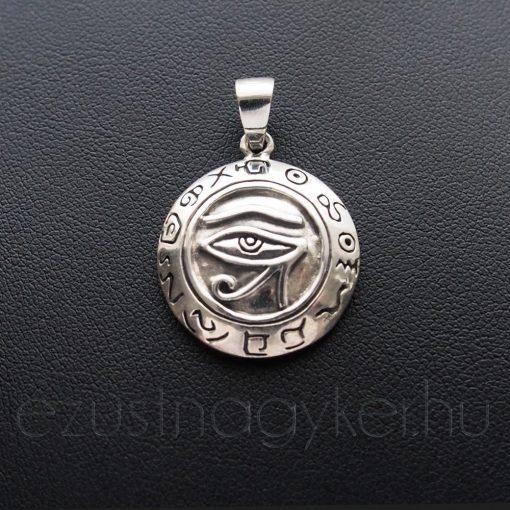 Hórusz szeme ezüst medál hieroglifákkal