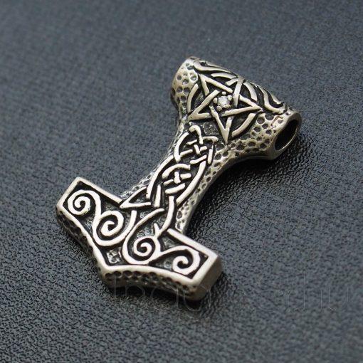Thor kalapácsa(Mjölnir) - Pentagram fehér kővel