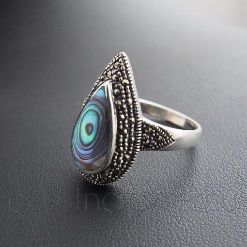 Markazit-Paua csepp gyűrű