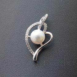 Édesvízi tenyésztett gyöngy medál - szív