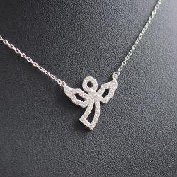 Angyal medál cirkónia kövekkel, ezüst  nyakláncon