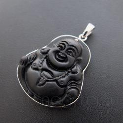 Nevető Buddha ezüst medál faragvány ónixból