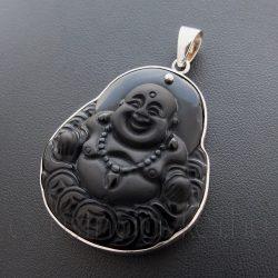 Nevető Buddha ezüst medál faragvány ónixból nagy