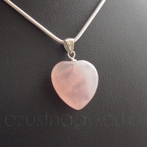 Rózsakvarc szív medál - nagy