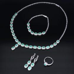 Smaragd köves nyakékgarnitúra - nyakék, karlánc, fülbevaló, gyűrű