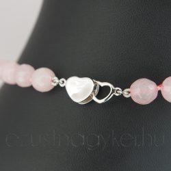 Rózsakvarc nyaklánc szív formájú ezüst zárszerkezettel