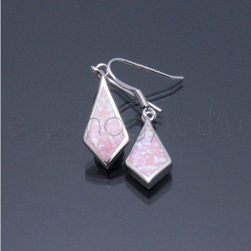 Opál fülbevaló rombusz rózsaszín