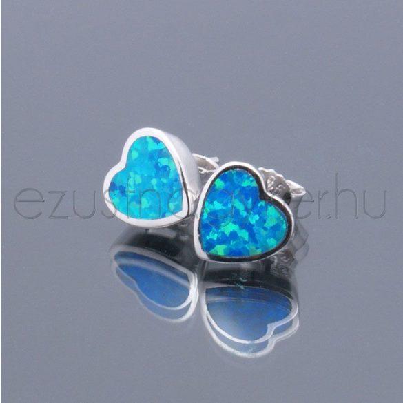 Opál fülbevaló szív 8mm kék