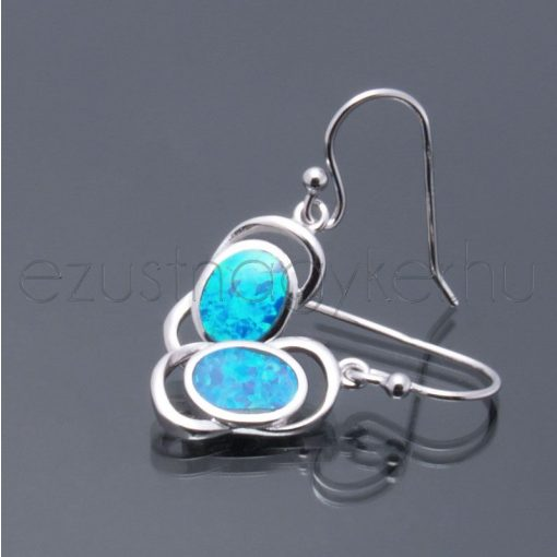 Opál fülbevaló 2 íves kék
