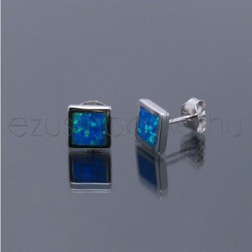 Opál fülbevaló kocka 6, 8, 10 mm-es kék