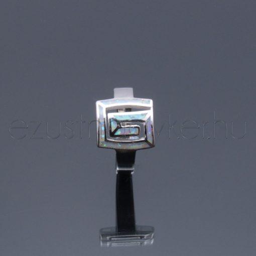 Opál ezüst gyűrű görög mintás rózsaszín