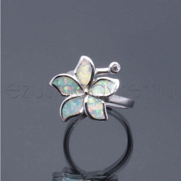 Opál gyűrű virág fehér