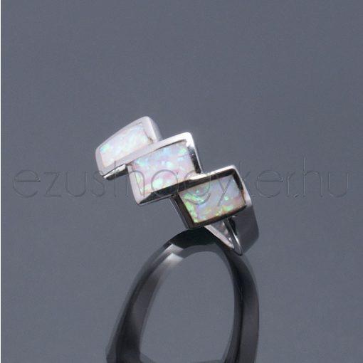 Opál gyűrű téglalapok fehér