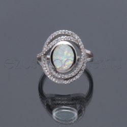 Opál+2sor cirkónia gyűrű F